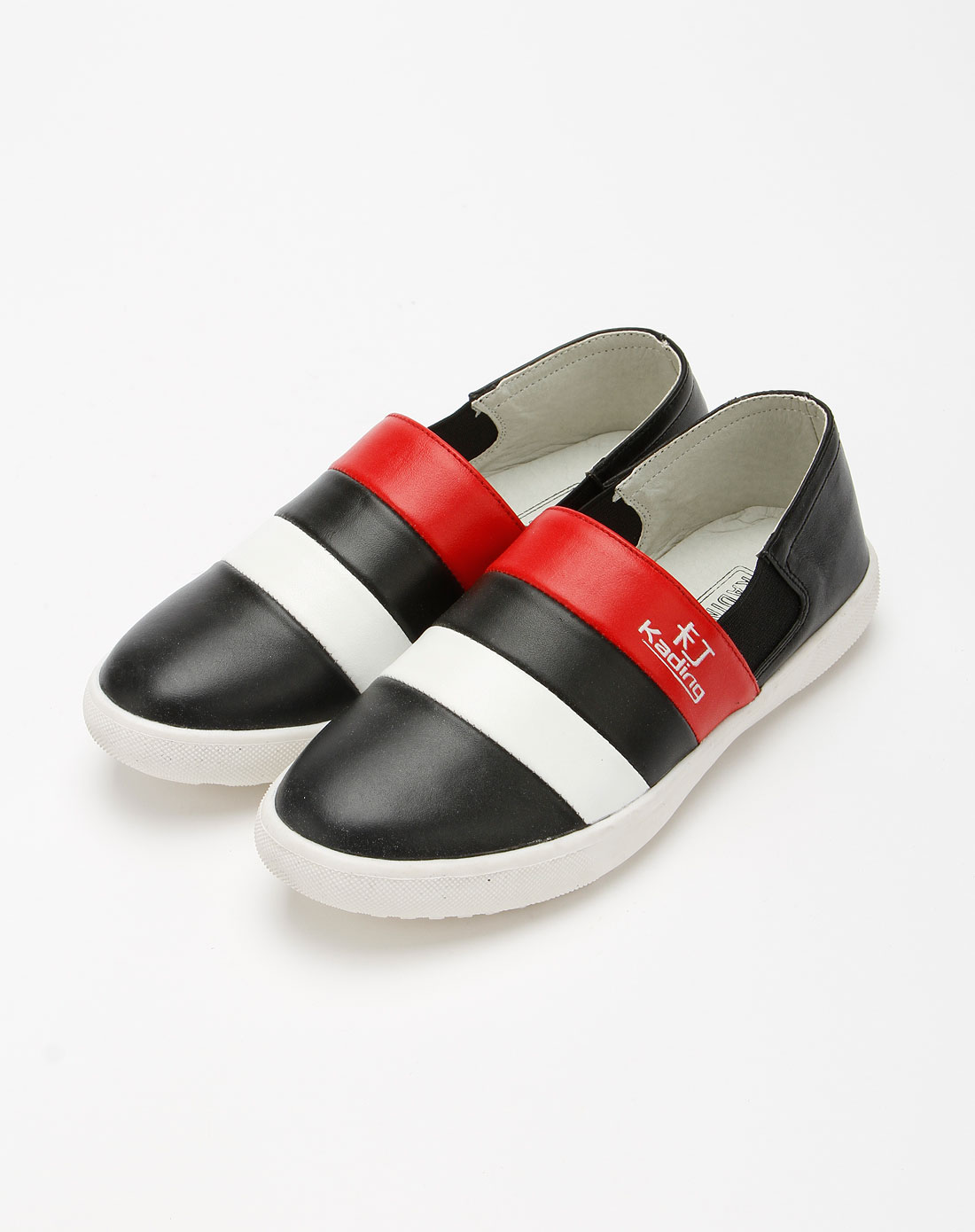 卡丁童鞋女童黑/红/白色简约皮鞋
