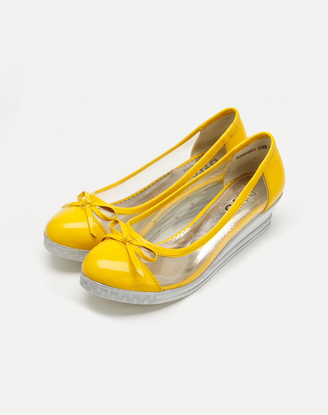 丹妮斯denise黄色漆皮透明单鞋