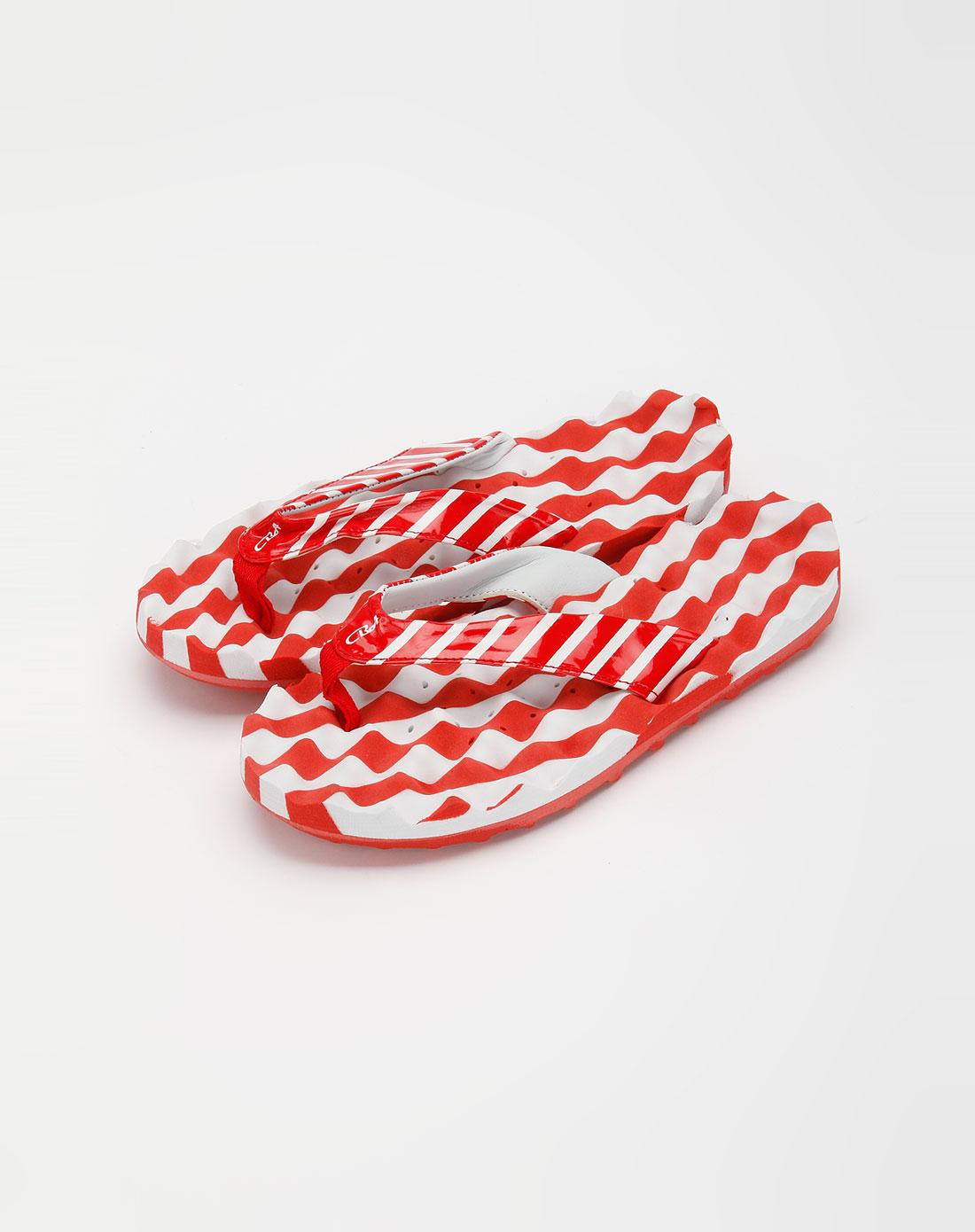cba女款白/红色间色沙滩拖鞋