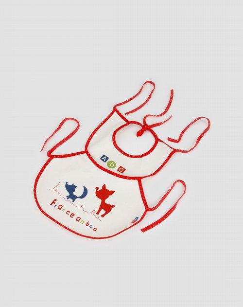 安宝儿anbaoer男女童混合专场白底红边纯棉压胶食饭大围