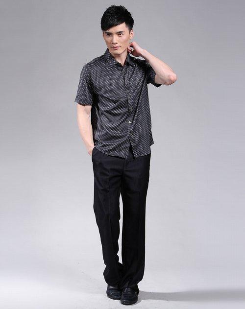 奥洛威F.F.OLVEA男装专场黑\/紫色印花短袖T恤
