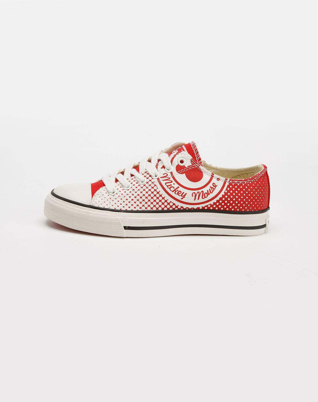 迪士尼disney米奇女款白/枣红色帆布鞋