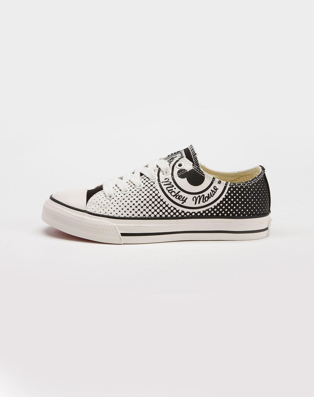 女款黑/白色帆布鞋_迪士尼disney米奇官网特价3