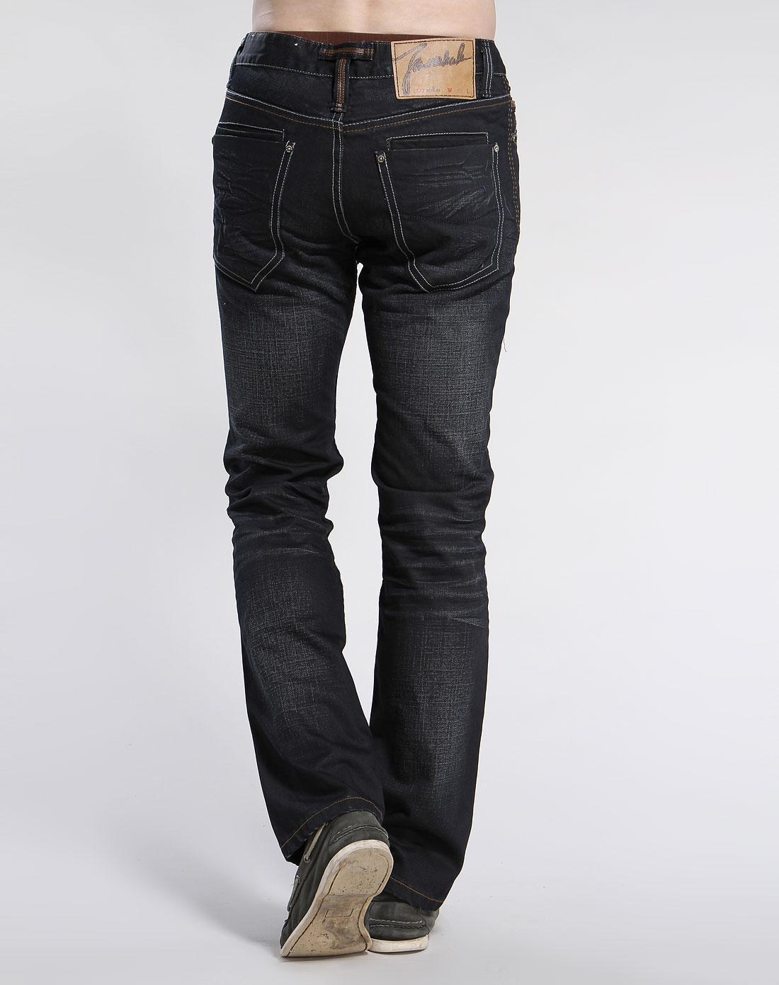 马克华菲浅黑色时尚牛仔长裤