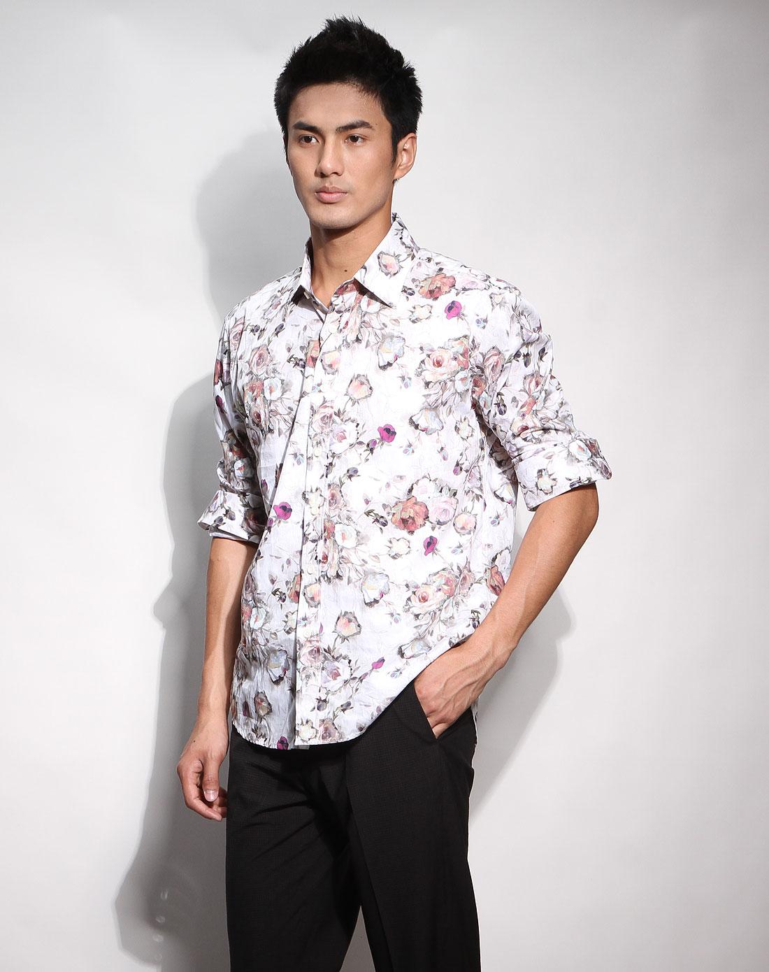 男款白底花儿图案时尚长袖衬衫