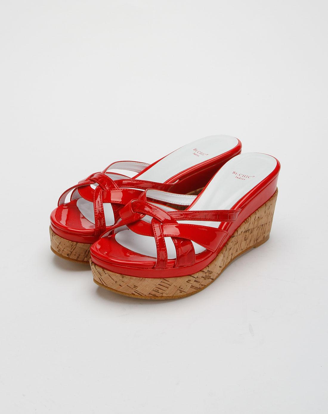 chic女款红色时尚高跟拖鞋