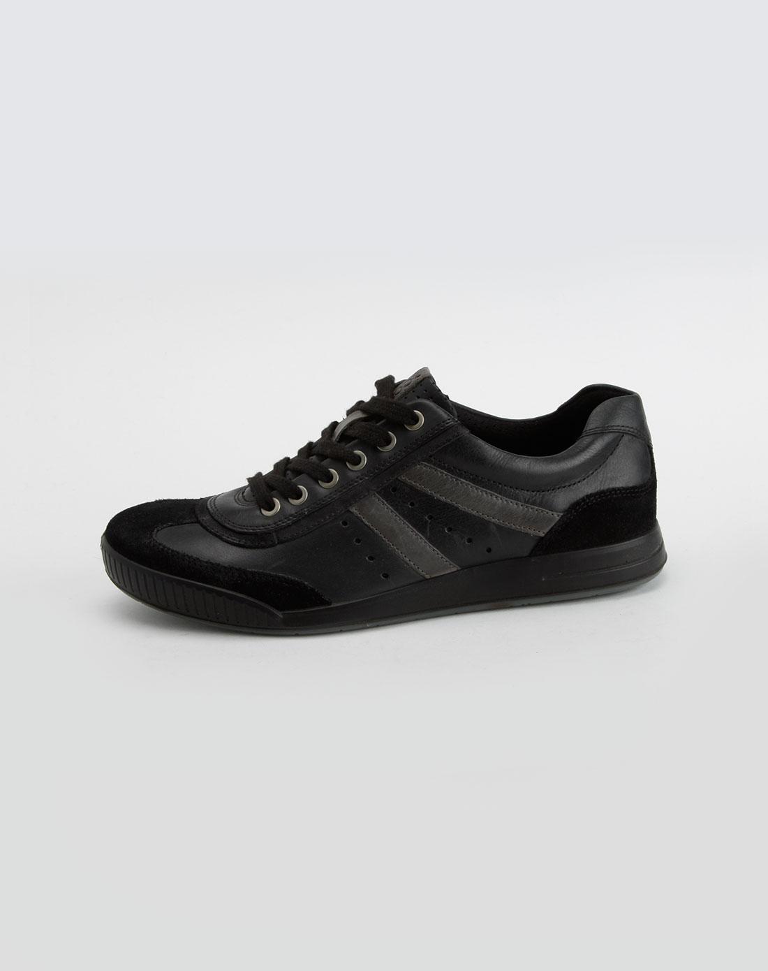 爱步ecco男款滑翔系列碳灰/黑色休闲鞋