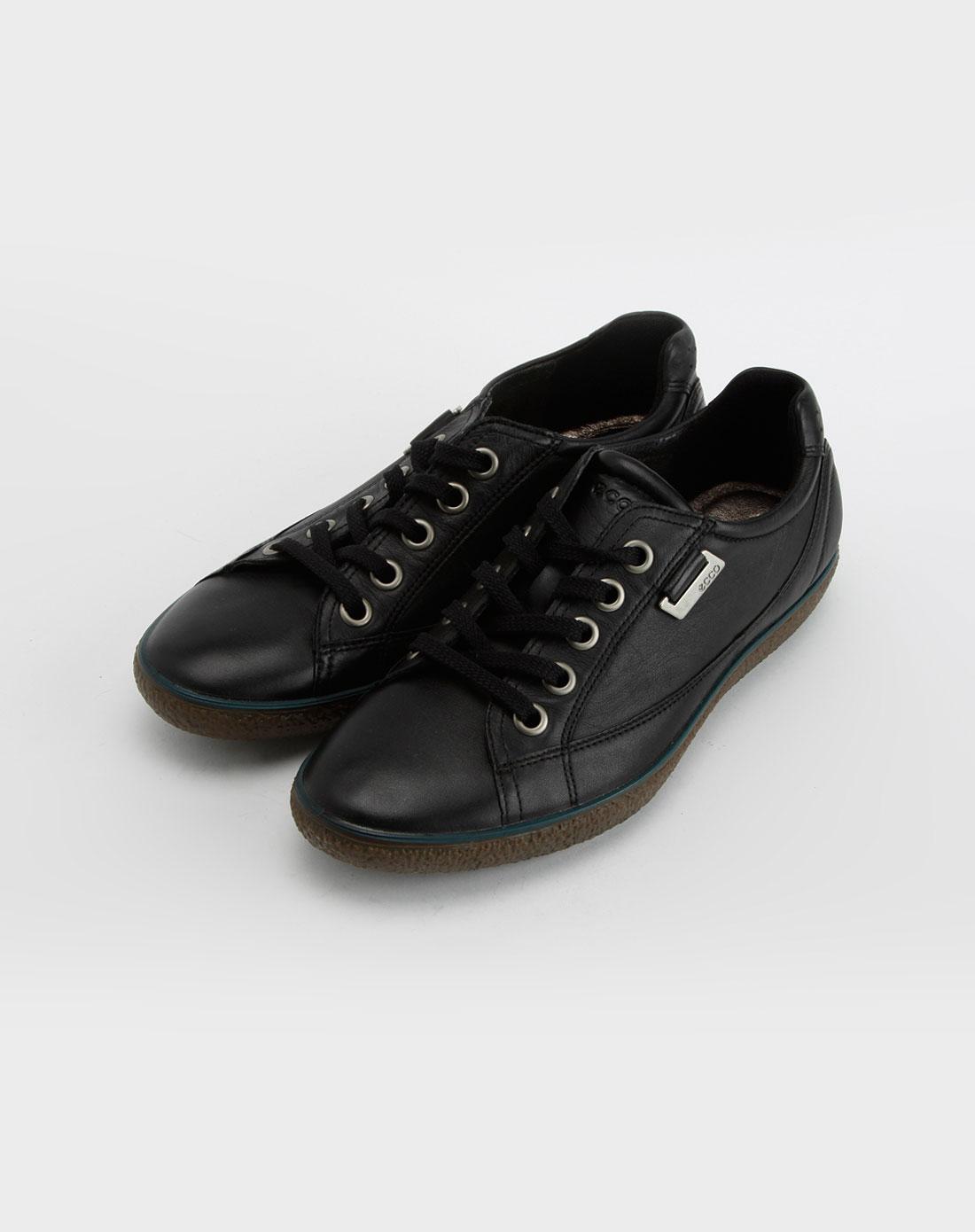 爱步ecco女款条纹系列黑色休闲鞋
