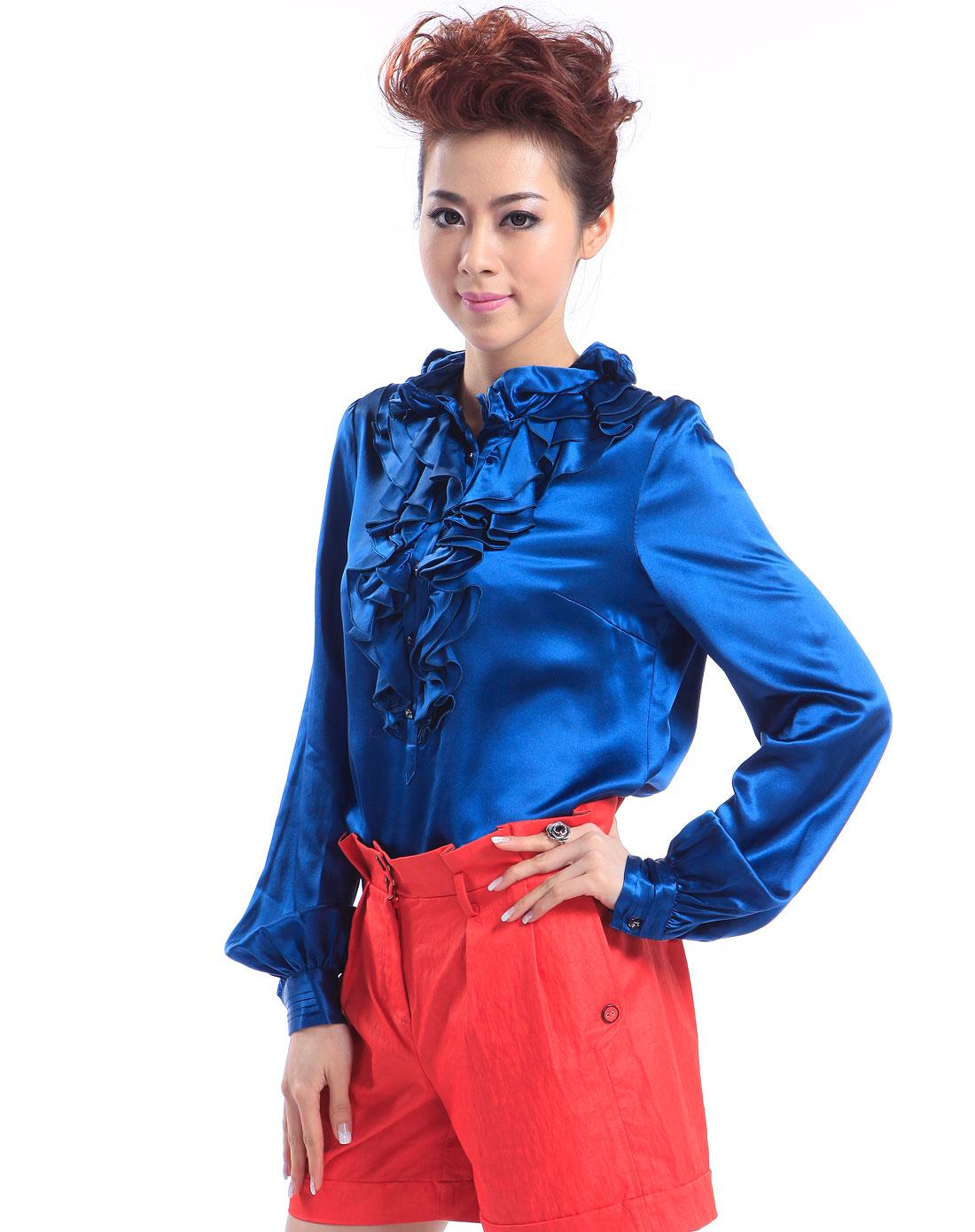 深蓝色花边长袖衬衫 竖