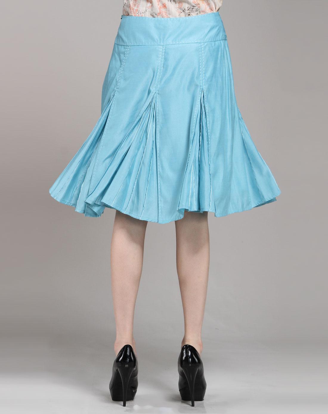 庄姿妮giorgio giulini女装专场浅蓝色休闲简约半裙