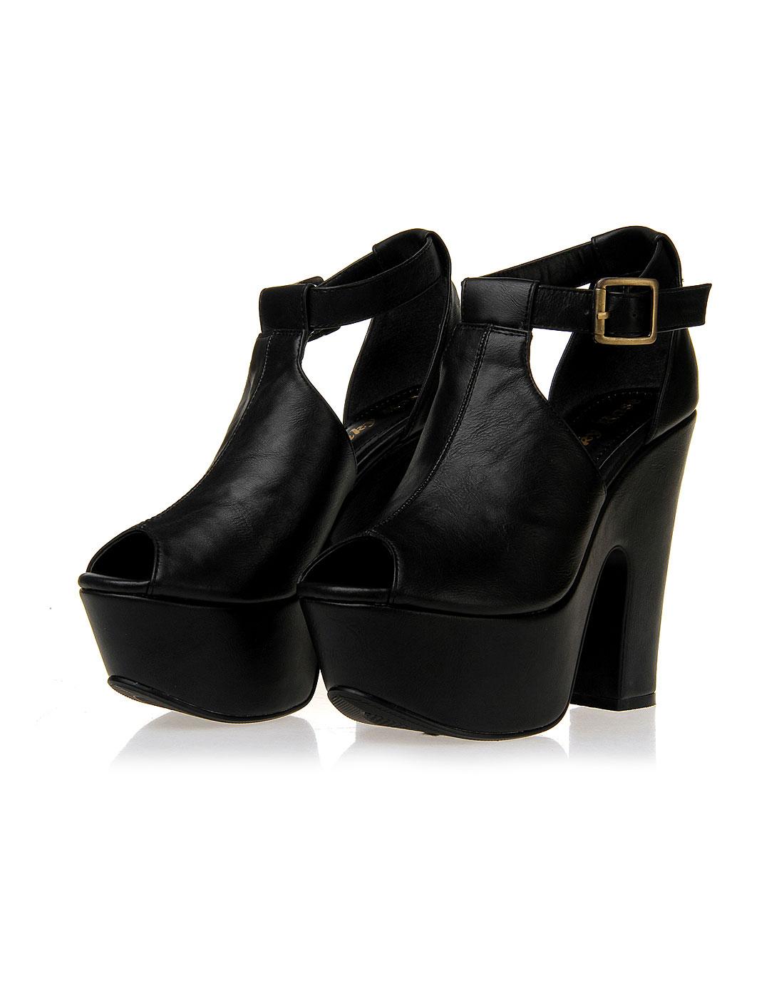 pinkyrose女款黑色高跟厚底凉鞋