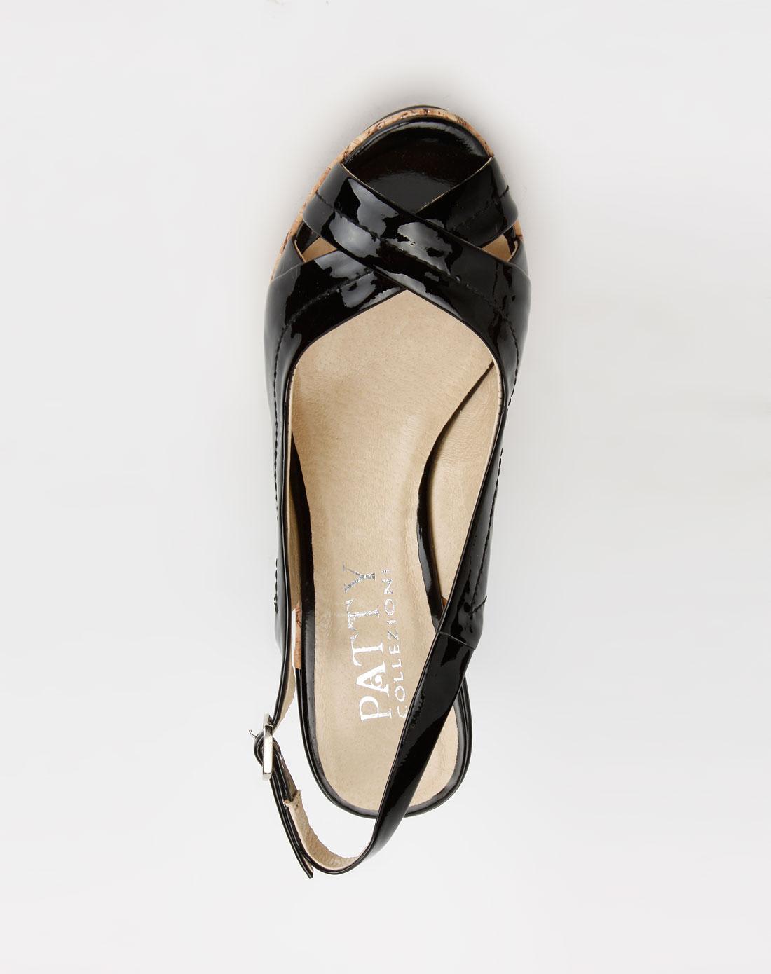 芭迪patty黑色镜面牛皮单鞋