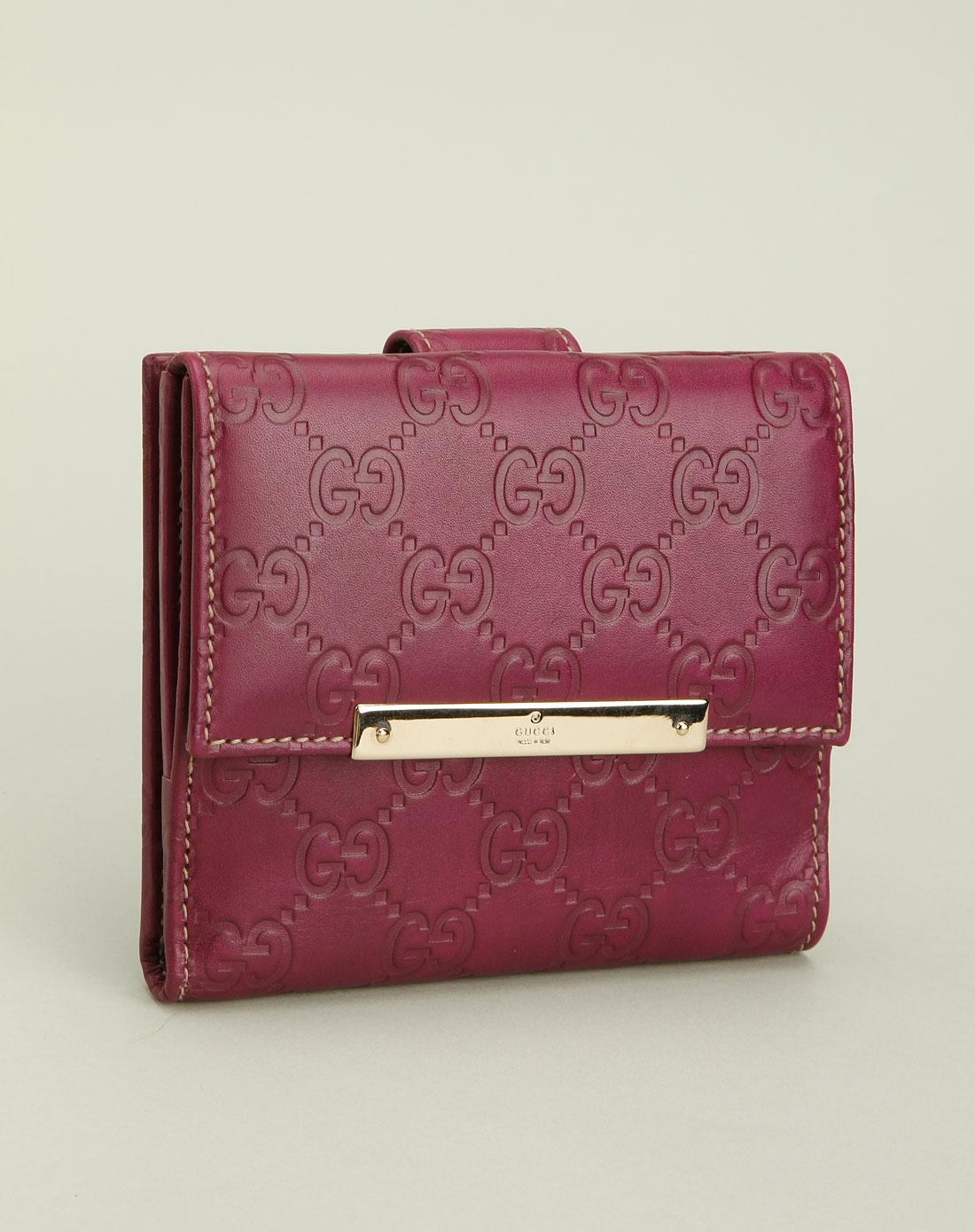 gucci钱包专场女款紫色印logo百搭钱包