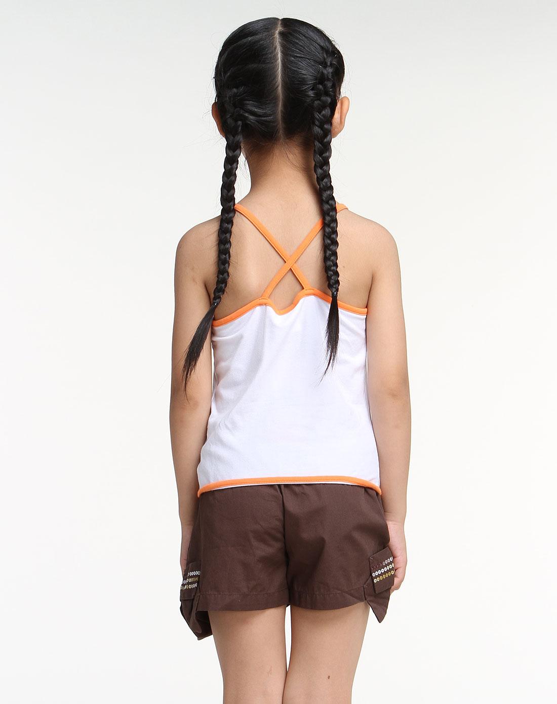 女童白色个性吊带背心