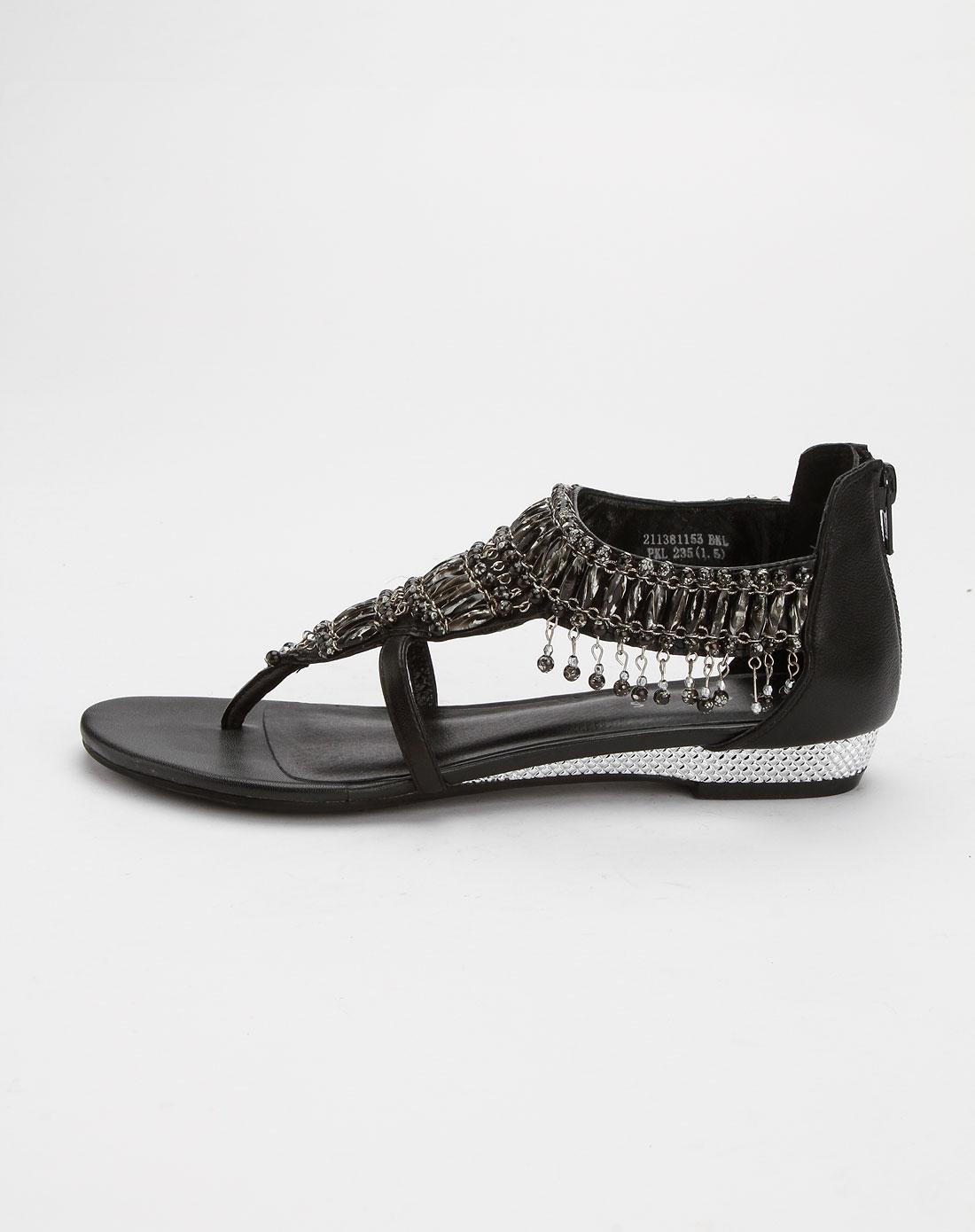 安玛莉precis黑色民族风串珠凉鞋
