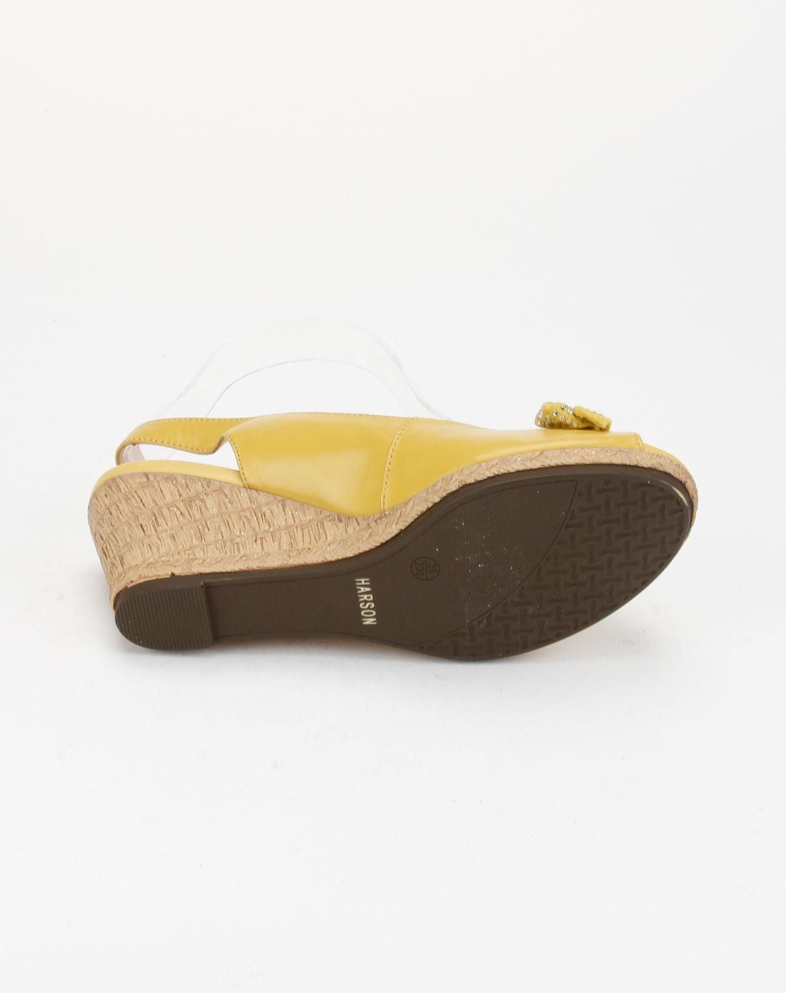 哈森harson黄色时尚简约高跟鱼嘴鞋hs18407-012
