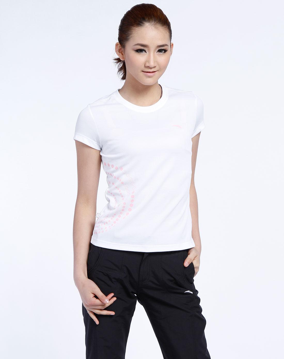 安踏anta女装专场-女款白色圆领短袖网球运动衫
