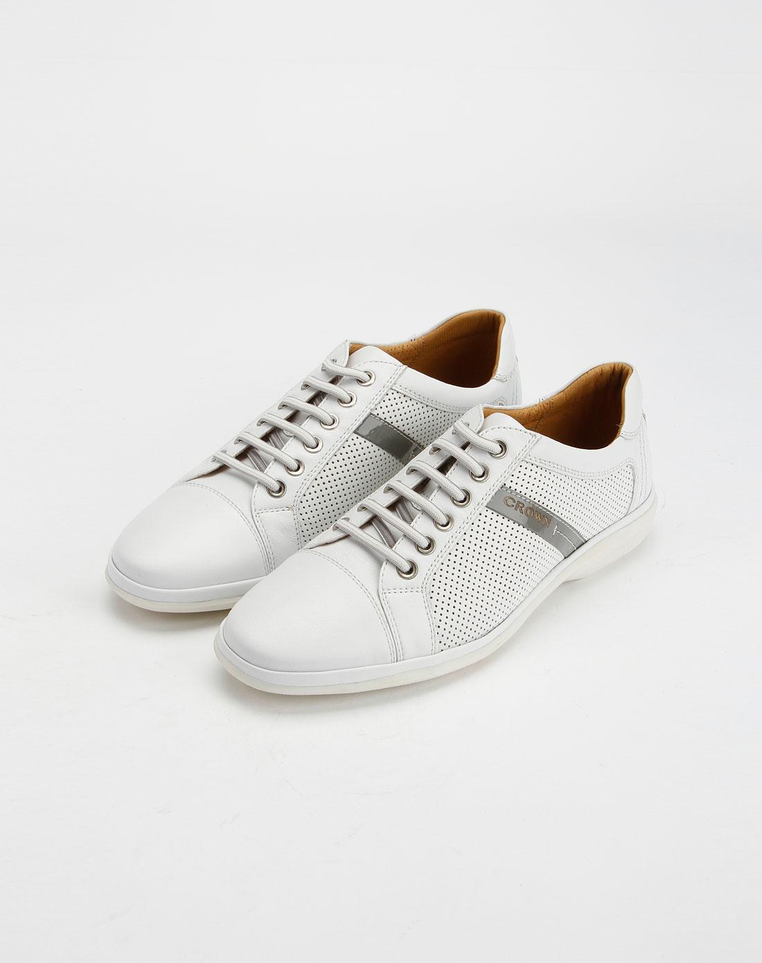 皇冠crown男款白色时尚休闲皮鞋