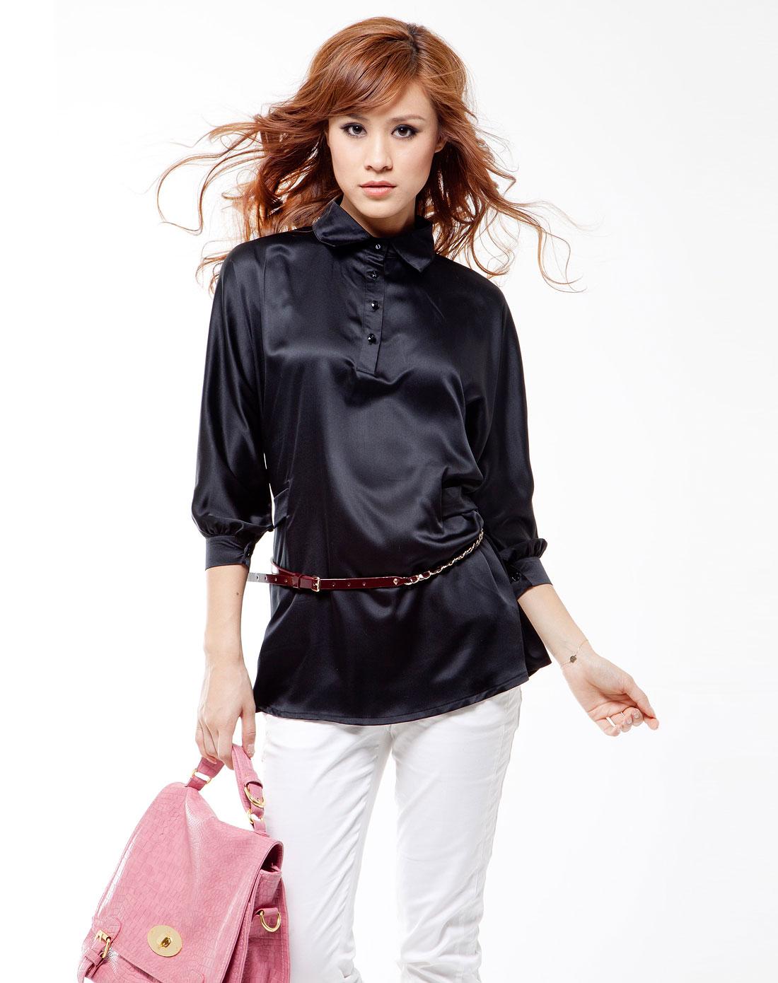芮儿ria女装专场-黑色复古女人味蝙蝠袖带腰带绸缎衬衣