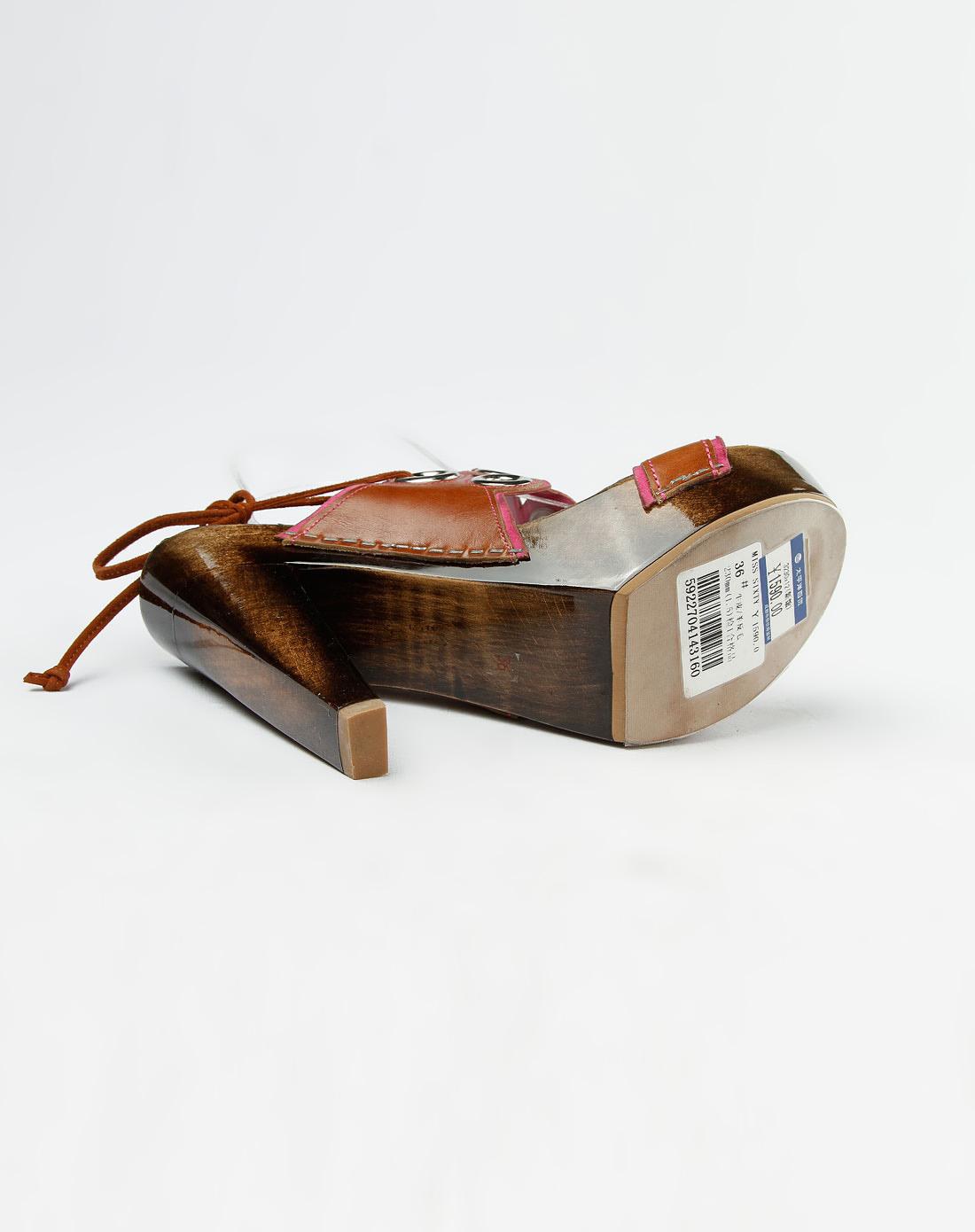 60年代小姐miss sixty棕色圆圈高跟凉鞋