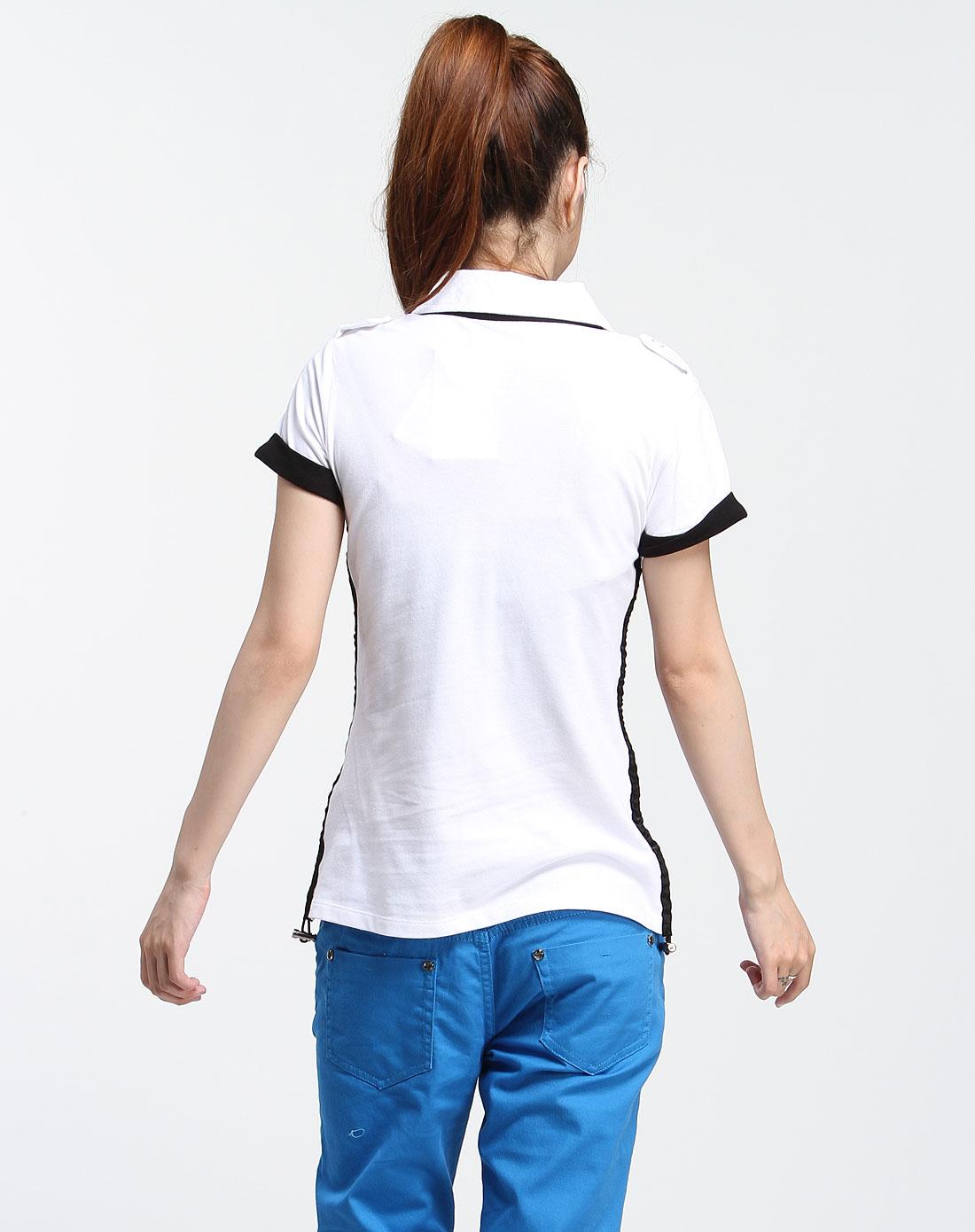 白/黑色休闲个性短袖t恤