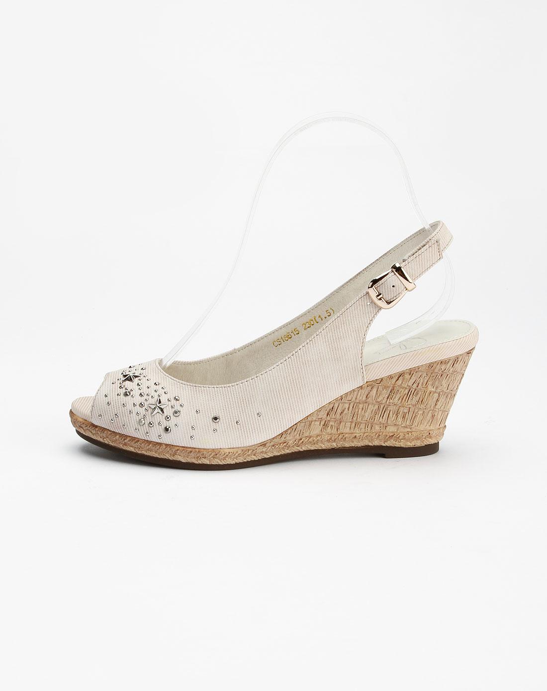 哈森旗下品牌女鞋卡文cover 浅咖啡色牛仔布纹羊皮后