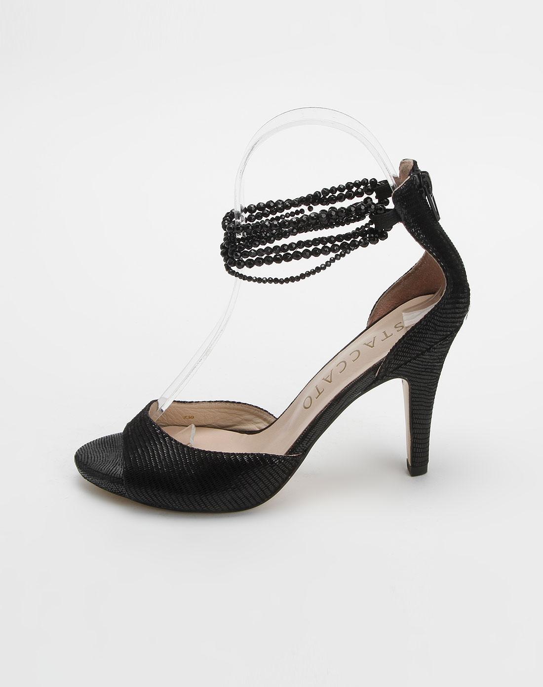 思加图staccato 黑色羊绒贴膜皮高跟凉鞋