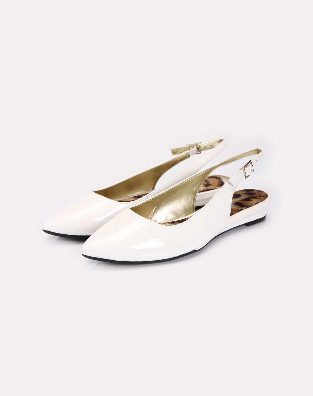 星期六st&sat女款白色漆面牛皮鞋
