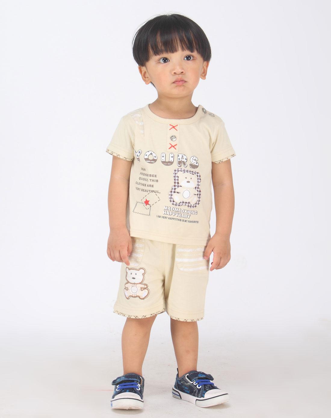 毛毛熊maomaoxiong男女童混合专场男童杏色印图可爱短袖两件套