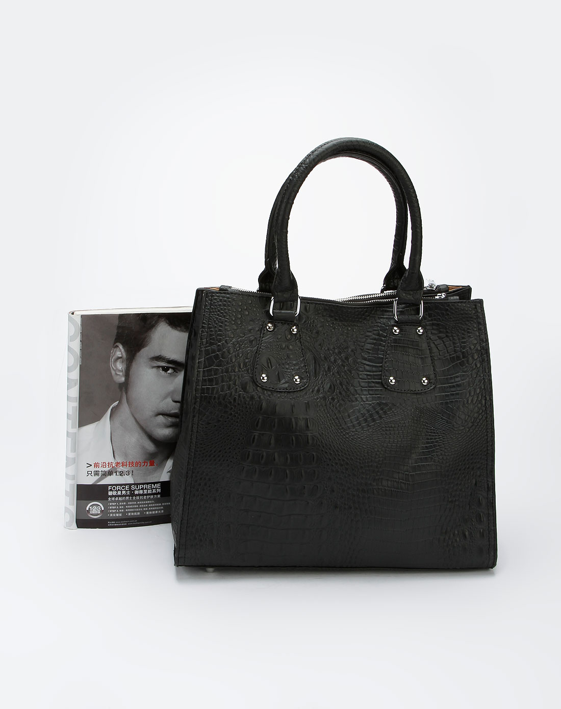 蜜丝罗妮marchiori黑色鳄鱼纹pu手袋30131060-0001
