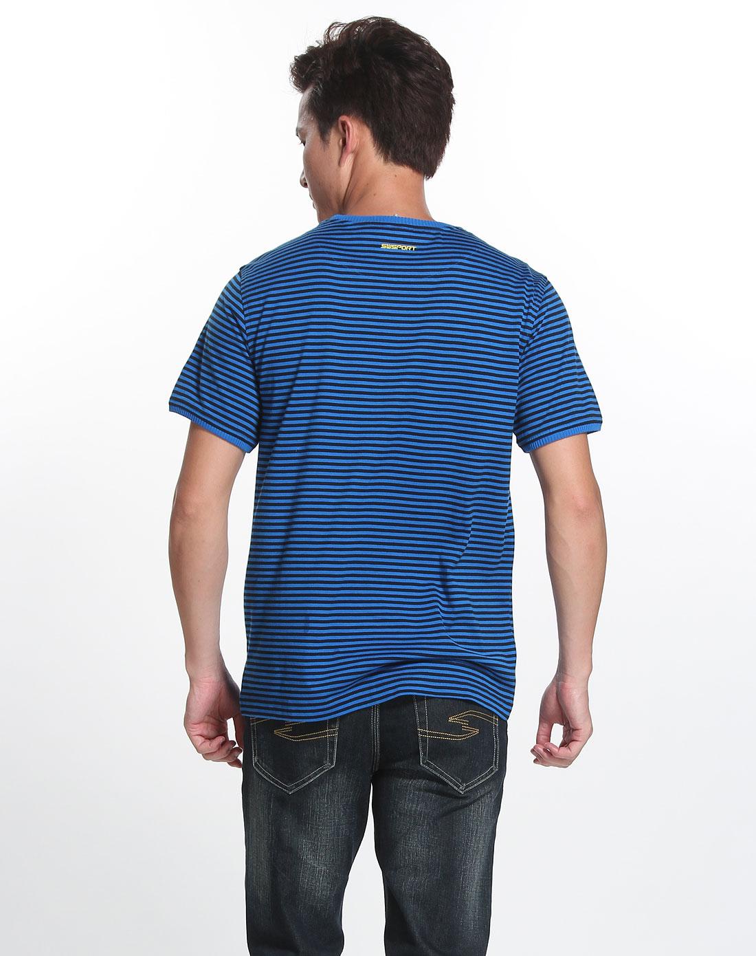七匹狼swsport男装专场黑/蓝色圆领短袖t恤
