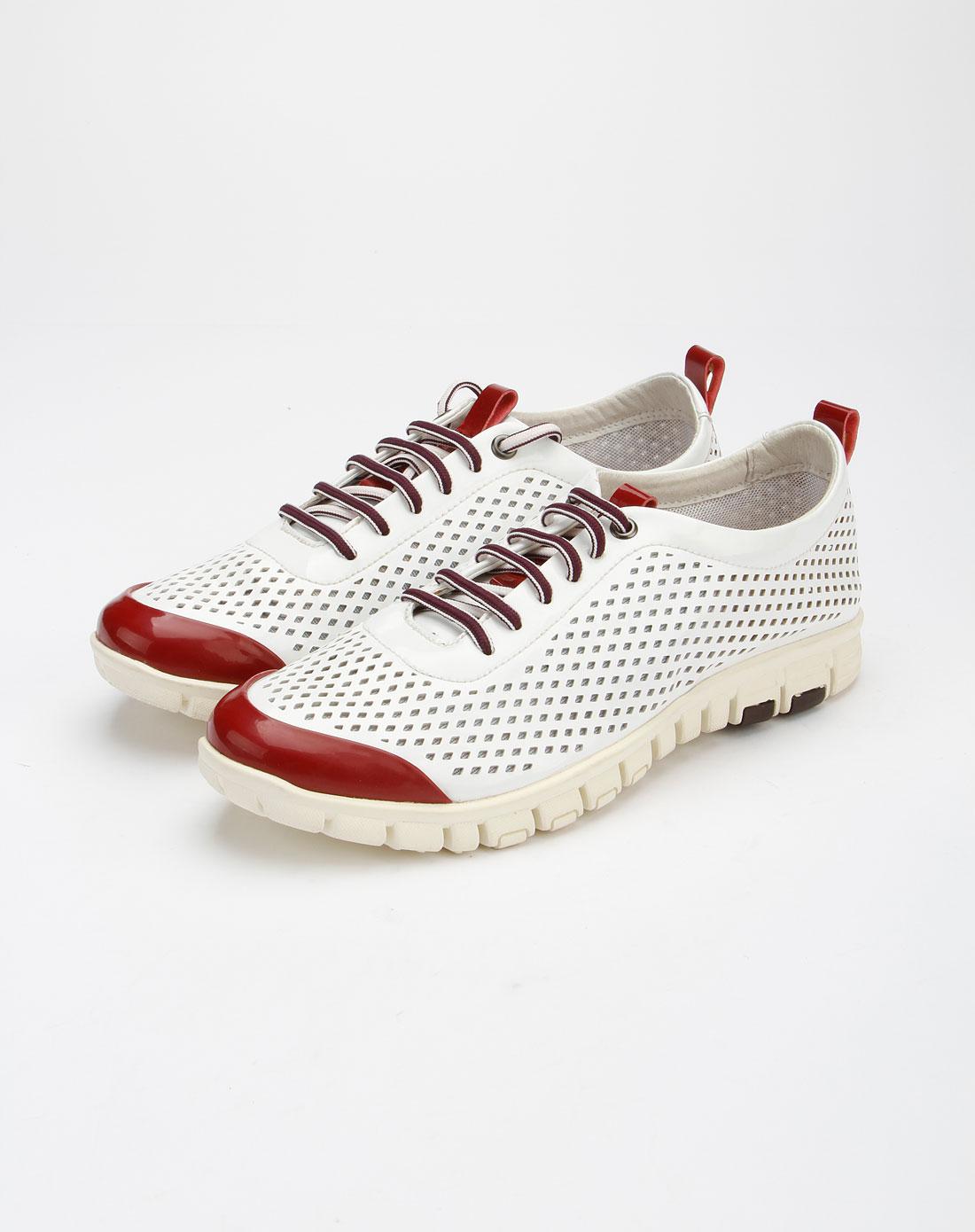 hugo&enzo男款白色时尚个性镂空透气休闲鞋