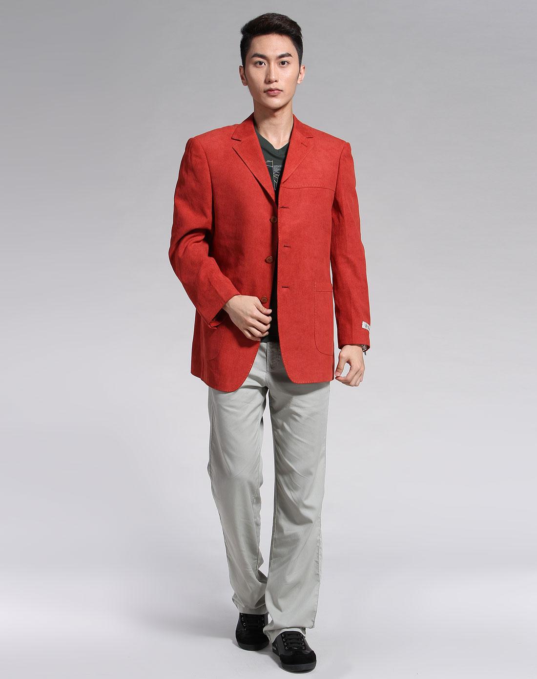 橘红色暗纹时尚长袖西装外套