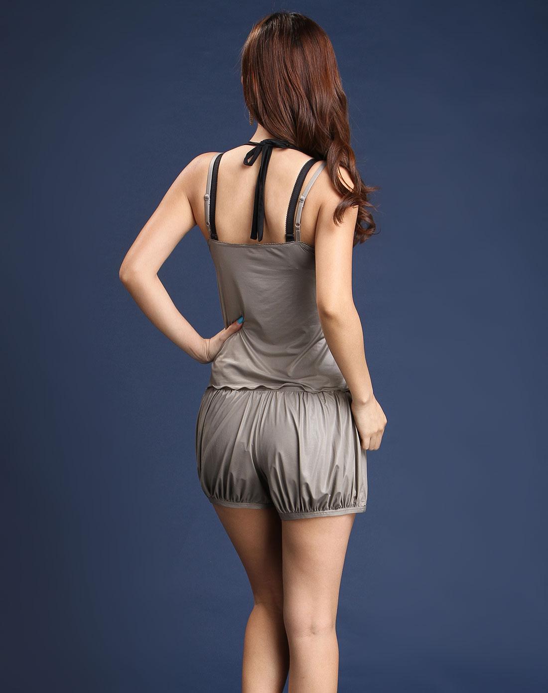 女款浅棕色素面荷叶领小可爱吊带内衣