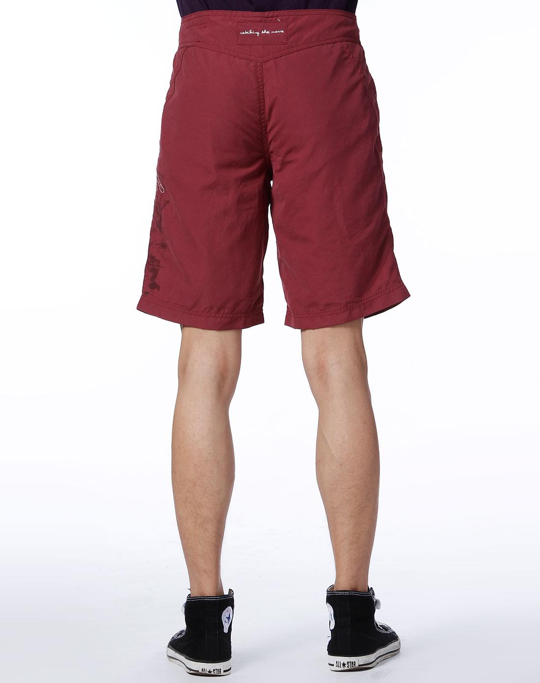 fox-男款枣红色休闲中裤