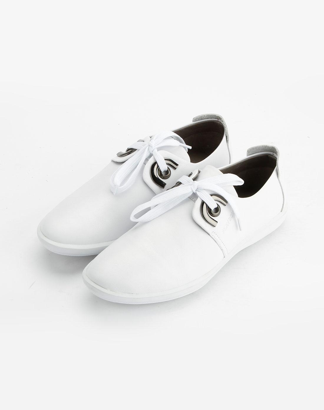 花花公子playboy白色细纹绑带休闲皮鞋