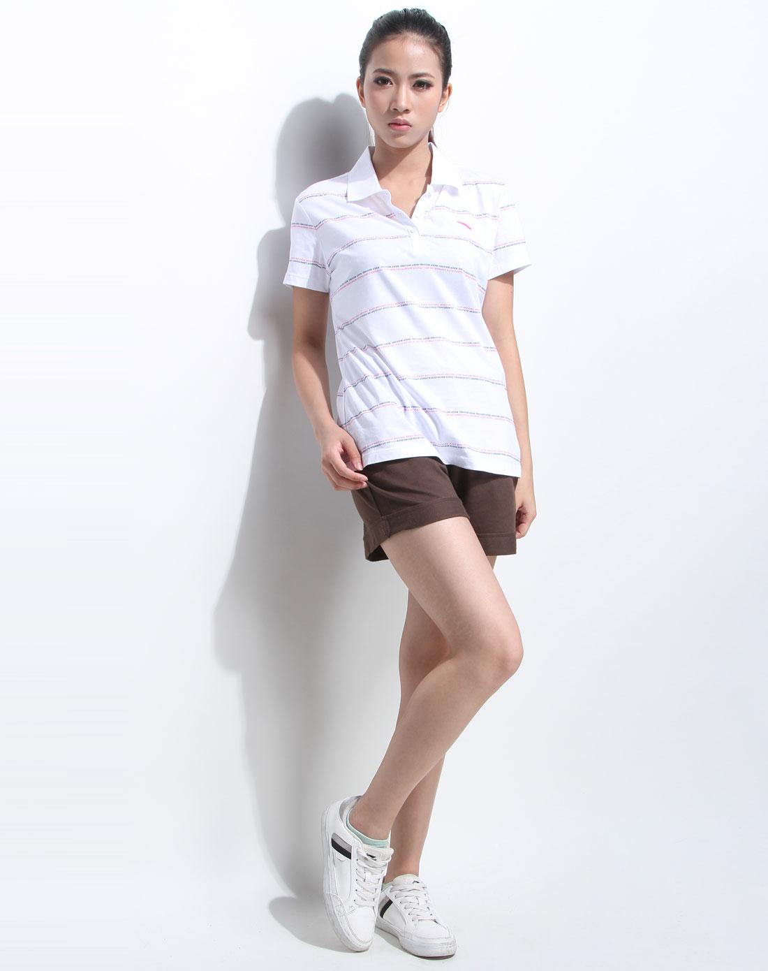 女休闲�z(�:(�ybj�f_女款 白色休闲短袖polo衫