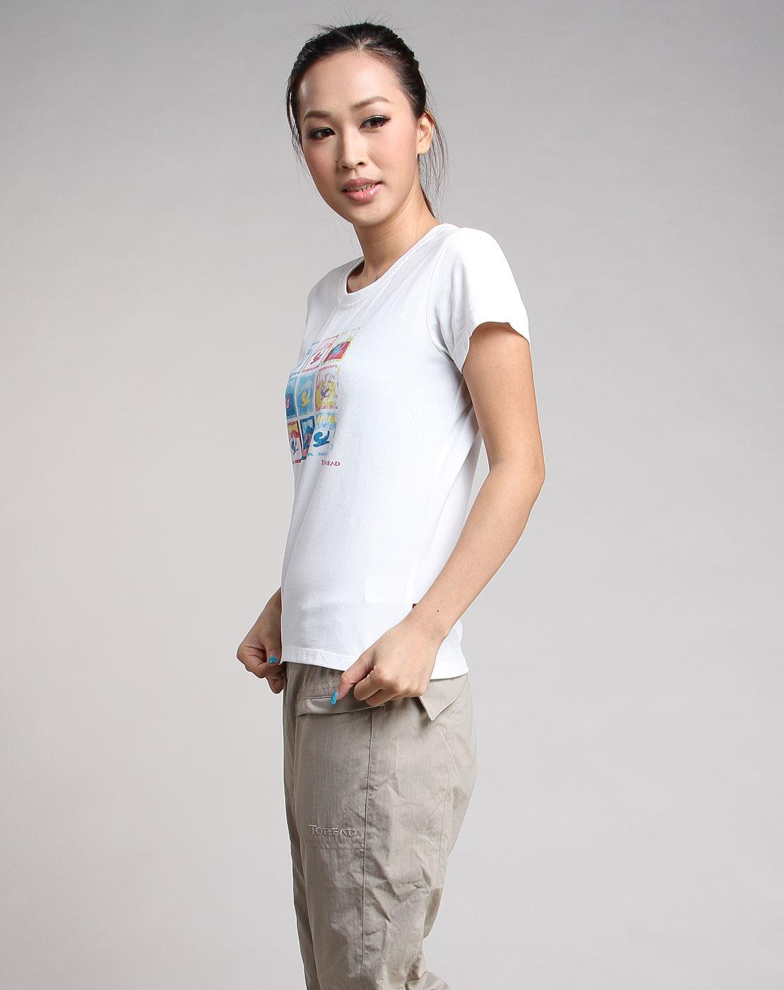 [ 探路者 ] 女款白色纯棉印花短袖t恤