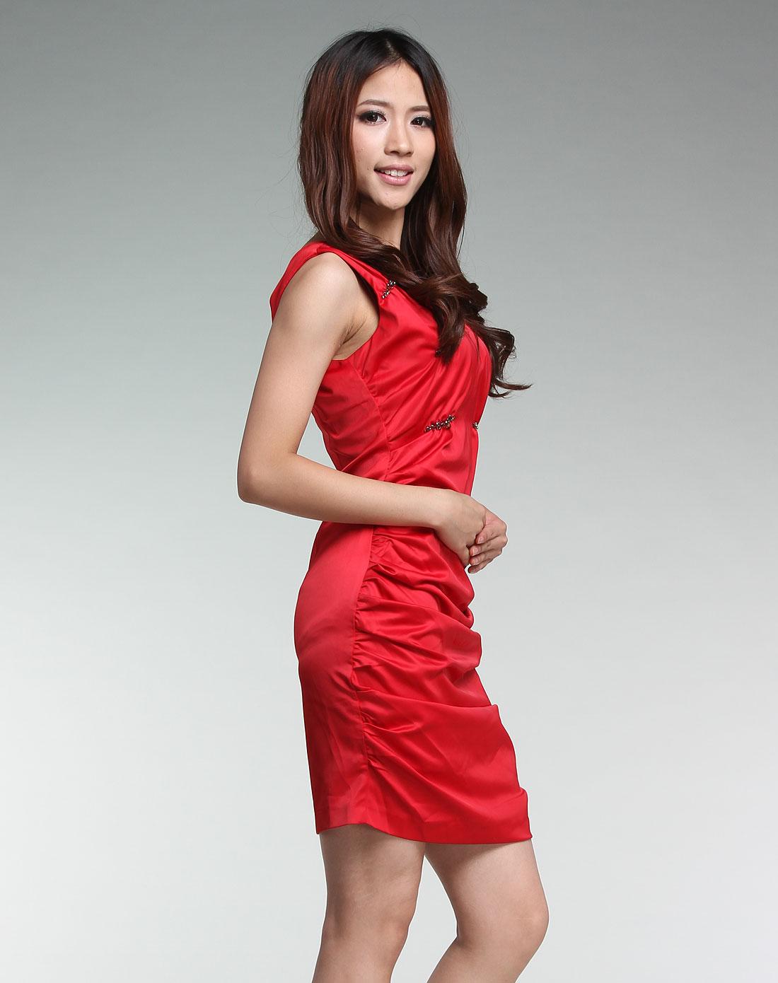 无袖跺(h��ފ9_红色气质时尚无袖连衣裙