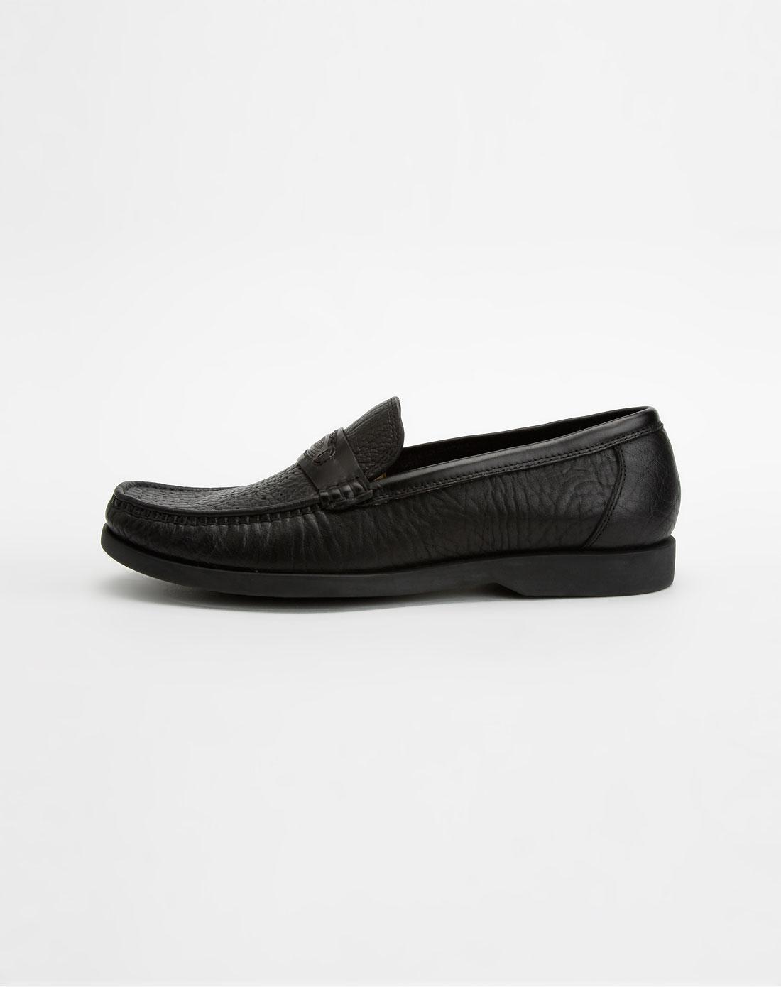 男款黑色皱纹镂空点牛皮鞋