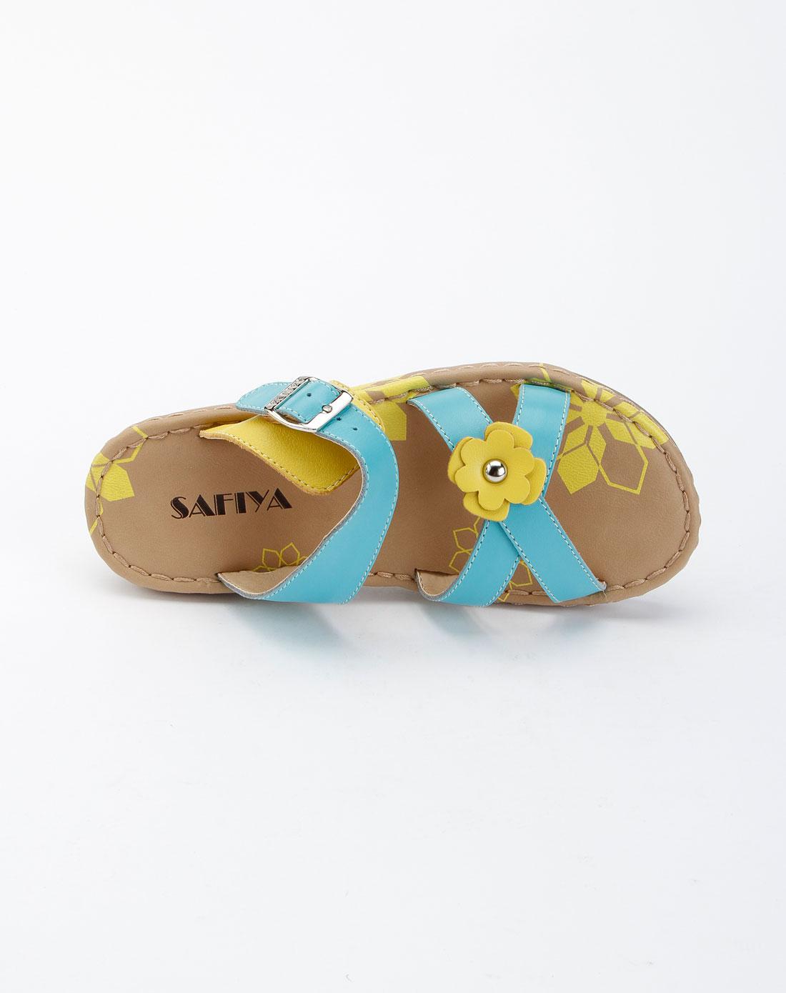 索菲娅safiya蓝色时尚低跟拖鞋sf22s5390361