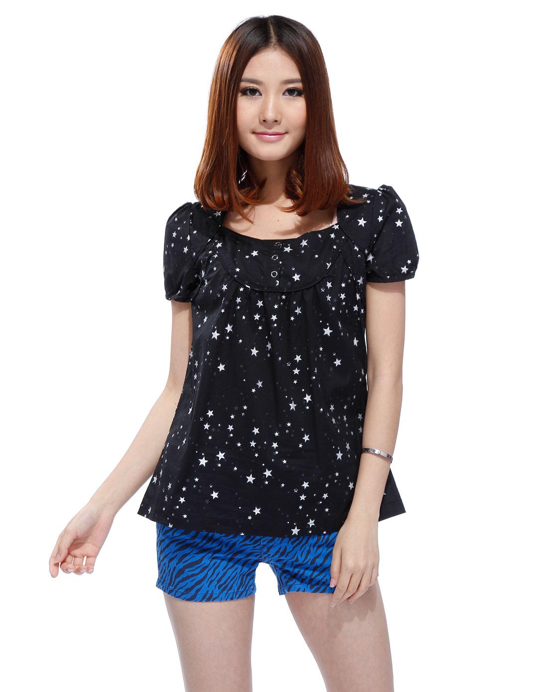 黑色印星星短袖衬衫_美特斯邦威官网特价3.4-4