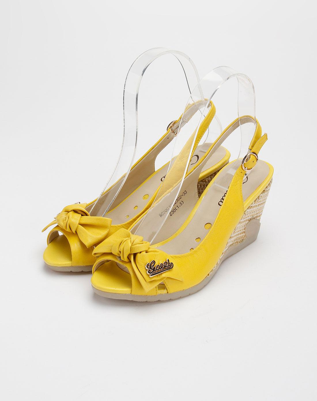 卡美多cameido黄色时尚鱼嘴坡跟凉鞋