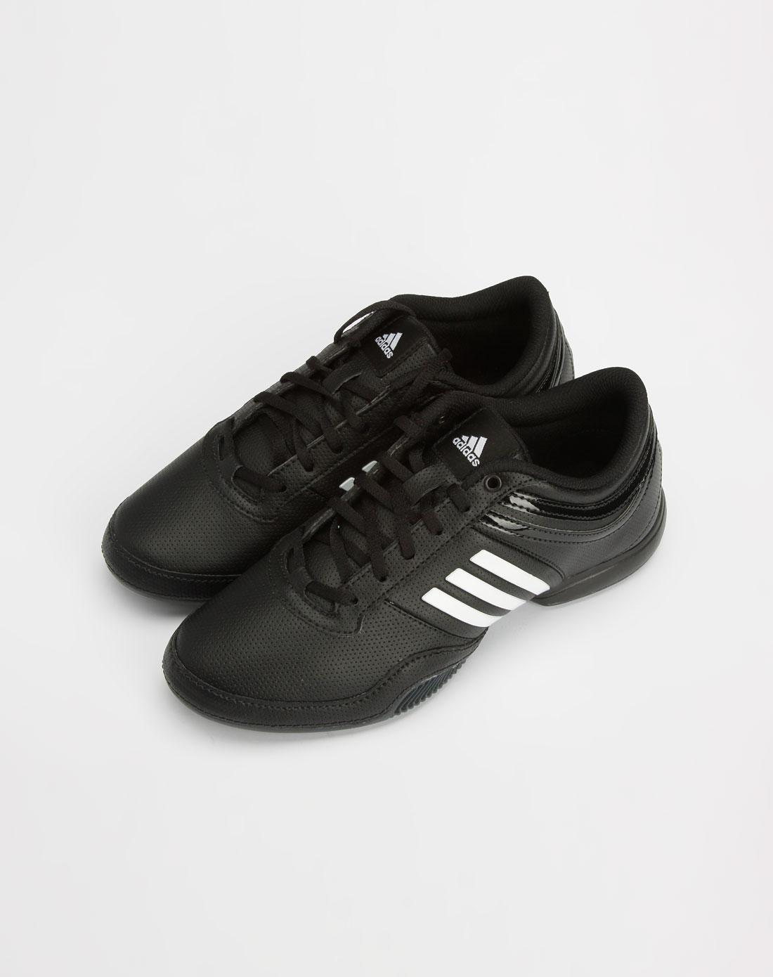 女款黑/白色绑绳运动鞋