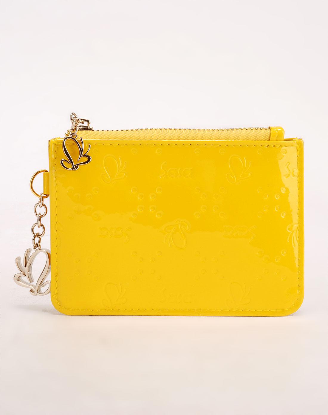 sasa黄色时尚简约零钱包