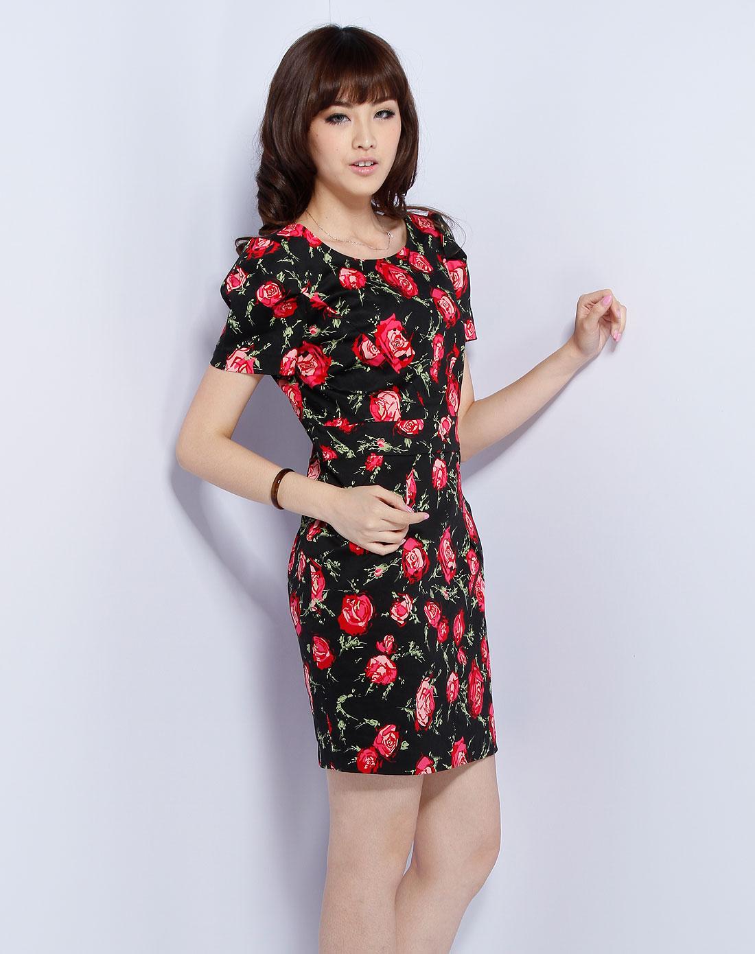 oasis黑/粉色印花短袖连衣裙