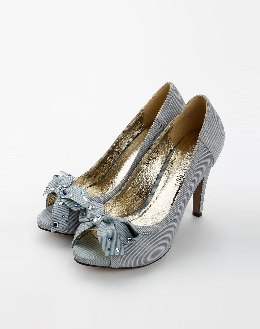 贵之步G-Vill浅蓝色时尚鱼嘴超高跟鞋4210585面包展示盘图片
