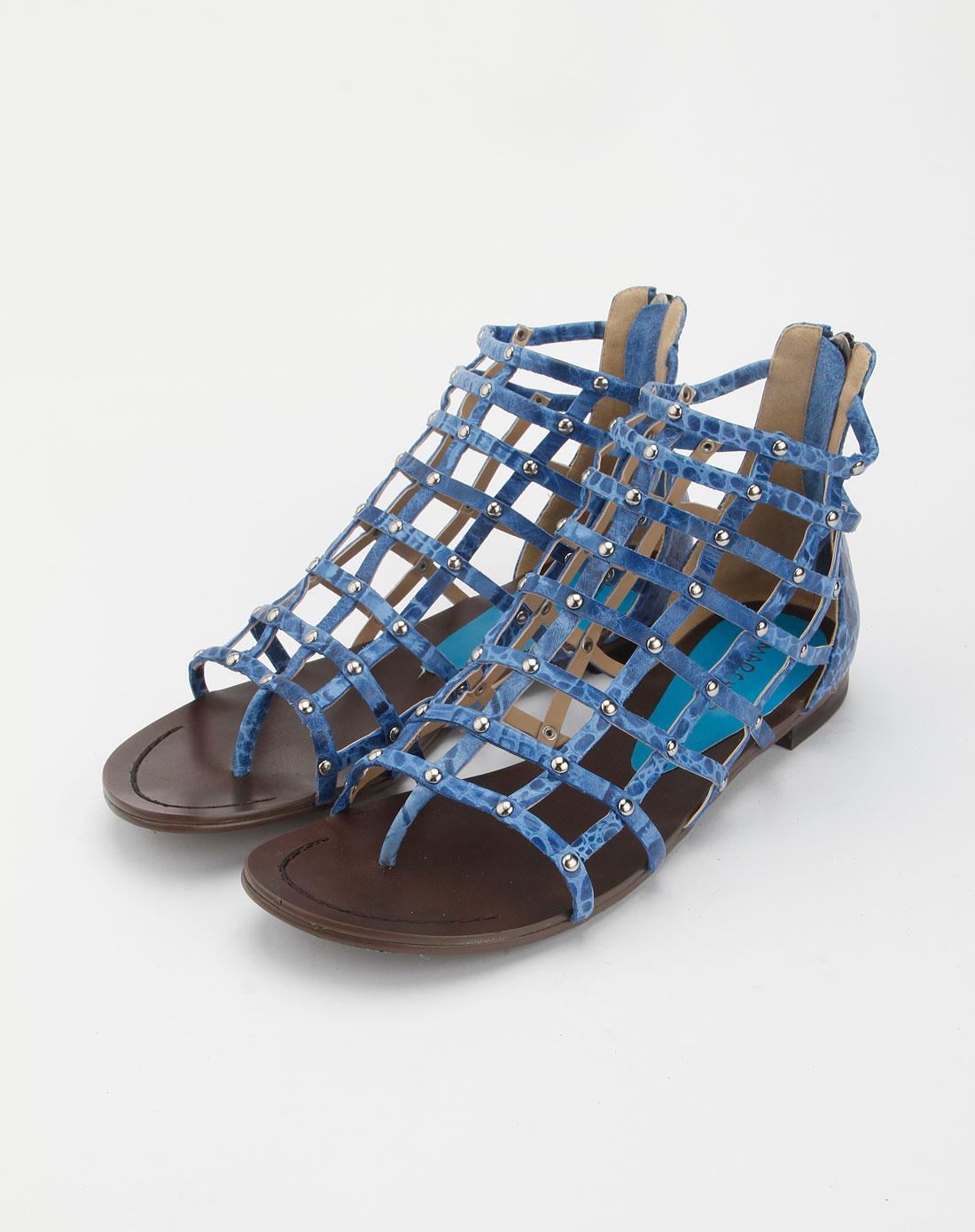 鳄鱼纹牛皮女凉鞋