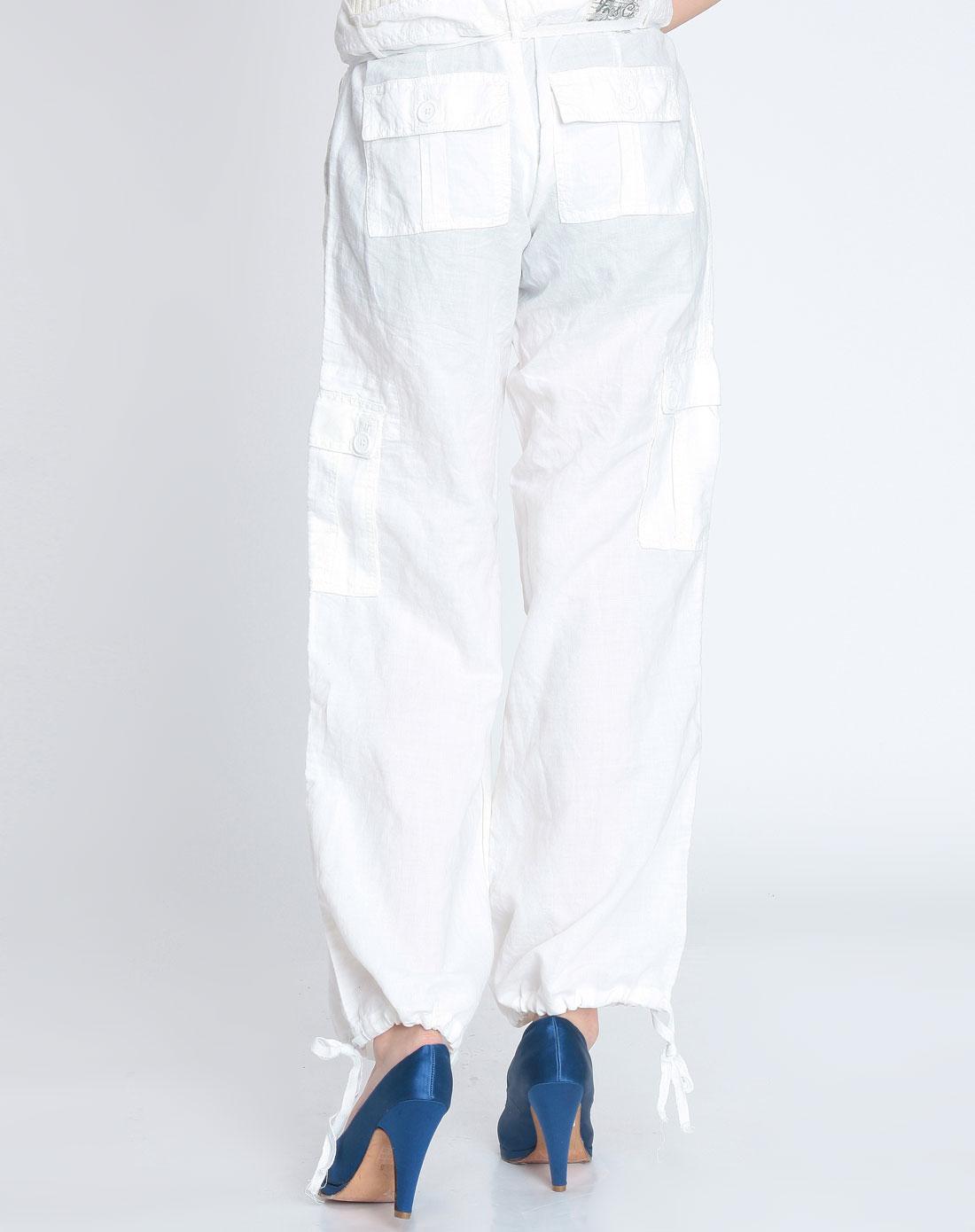 女款白色系带休闲长裤