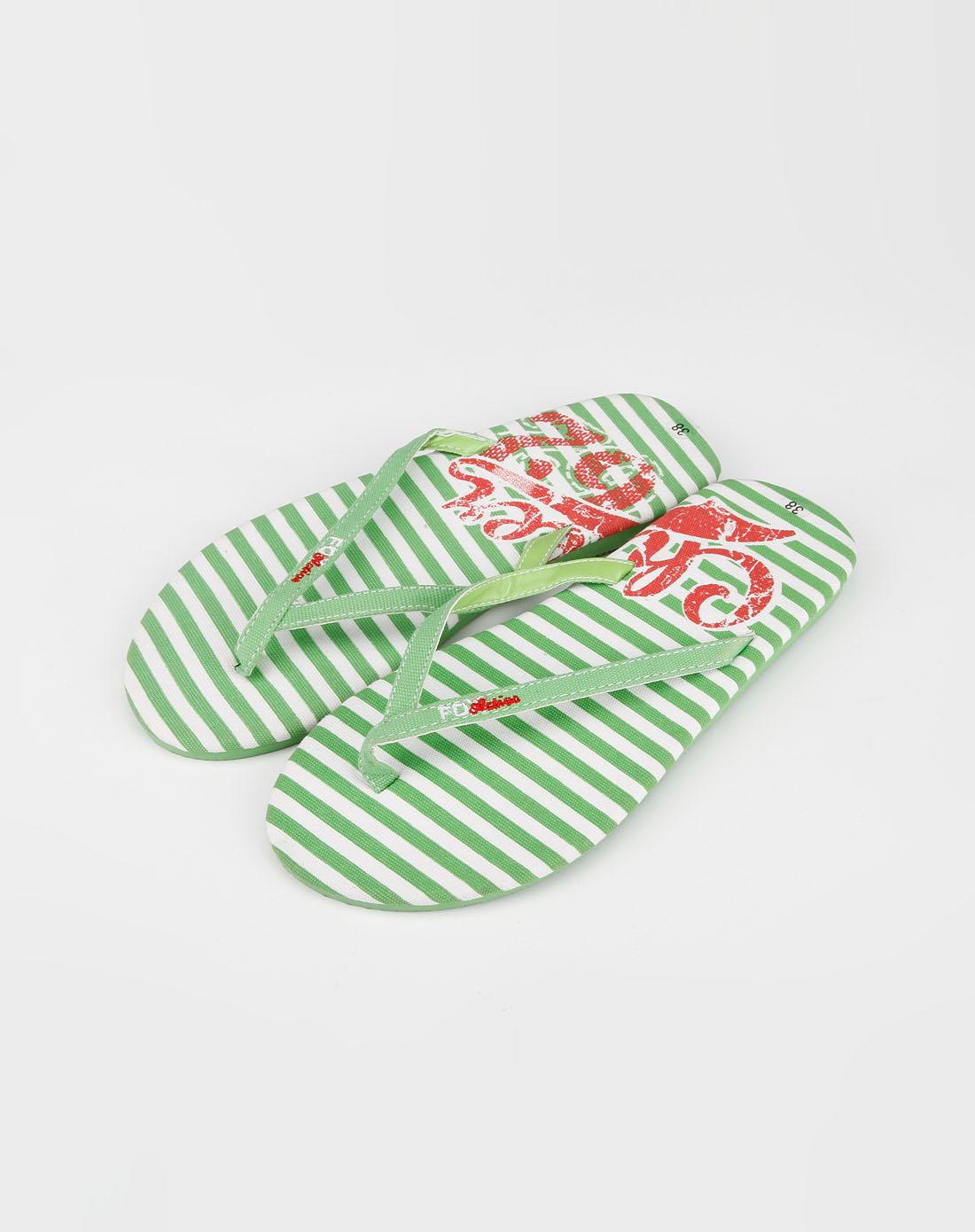 女款绿/白色沙滩拖鞋_fox官网特价0